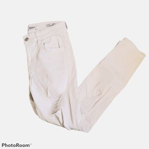Guess white mid rise destroyed skinny leg jeans